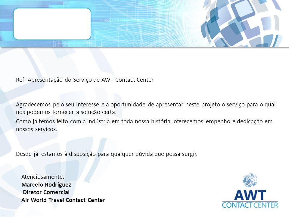 Ref: Apresentação do Serviço de AWT Contact Center Agradecemos pelo seu interesse e a oportunidade de apresentar neste projeto o serviço para o qual nós podemos fornecer a solução certa.