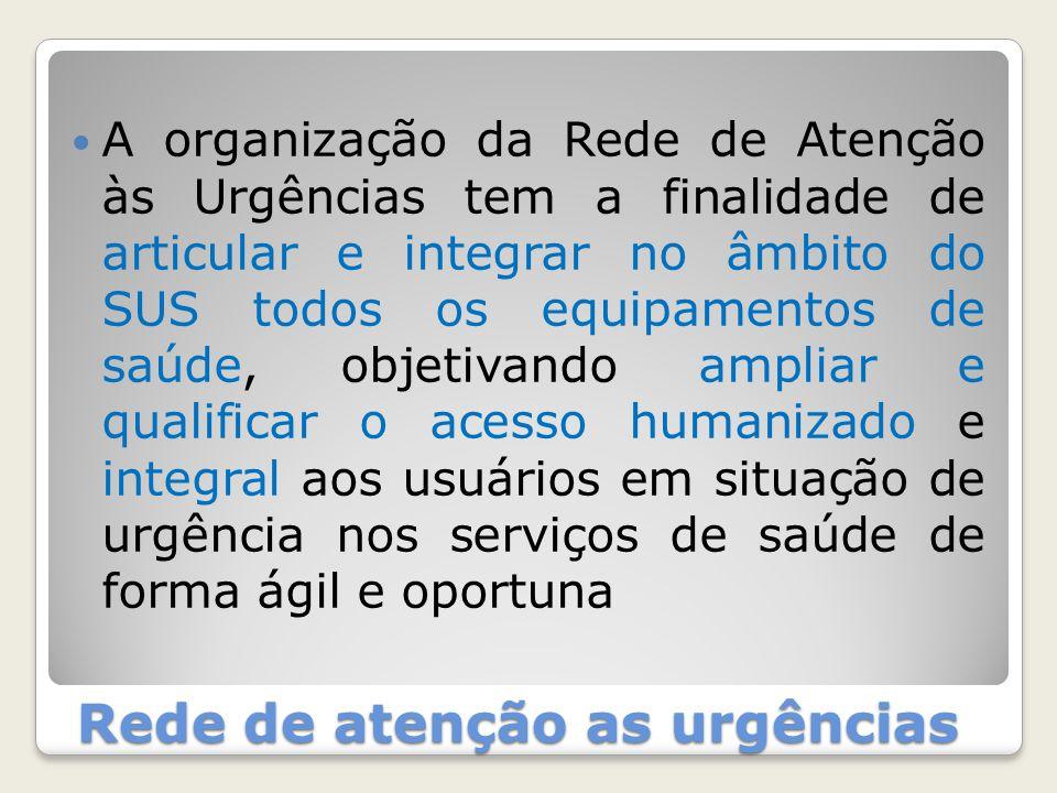 Rede de atenção as urgências A organização da Rede de Atenção às Urgências tem a finalidade de articular e integrar no âmbito do SUS todos os equipame