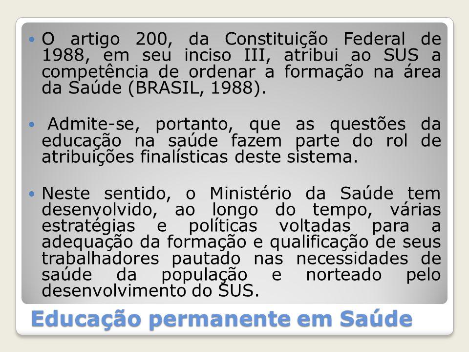 Educação permanente em Saúde O artigo 200, da Constituição Federal de 1988, em seu inciso III, atribui ao SUS a competência de ordenar a formação na á