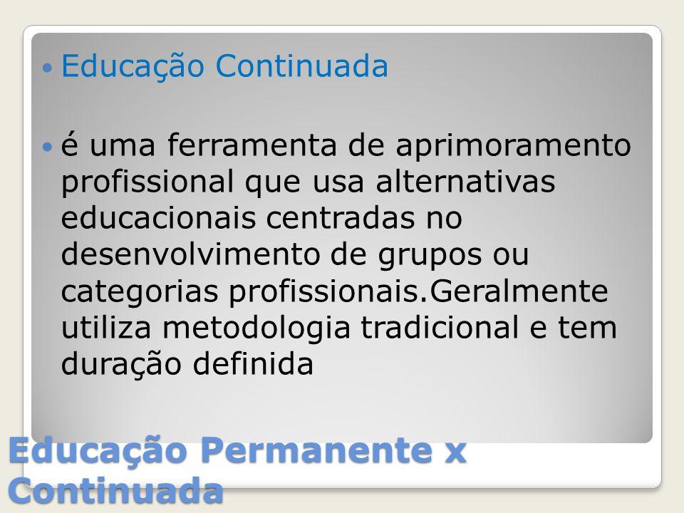 Educação Permanente x Continuada Educação Continuada é uma ferramenta de aprimoramento profissional que usa alternativas educacionais centradas no des