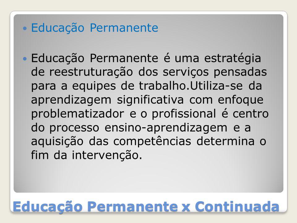 Educação Permanente x Continuada Educação Permanente Educação Permanente é uma estratégia de reestruturação dos serviços pensadas para a equipes de tr