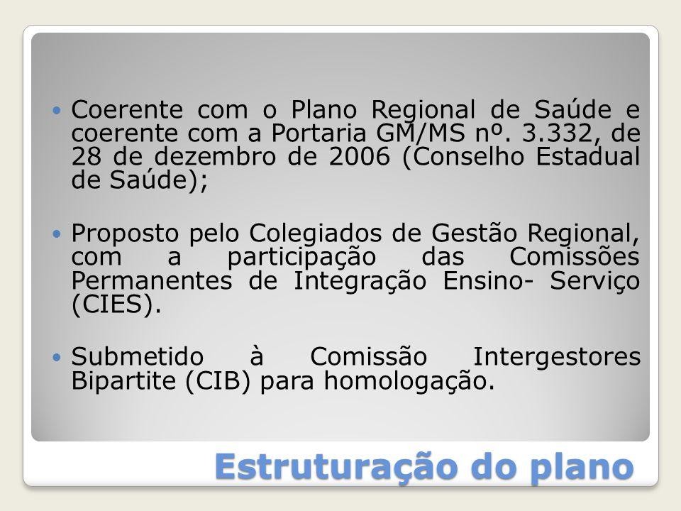 Estruturação do plano Coerente com o Plano Regional de Saúde e coerente com a Portaria GM/MS nº. 3.332, de 28 de dezembro de 2006 (Conselho Estadual d