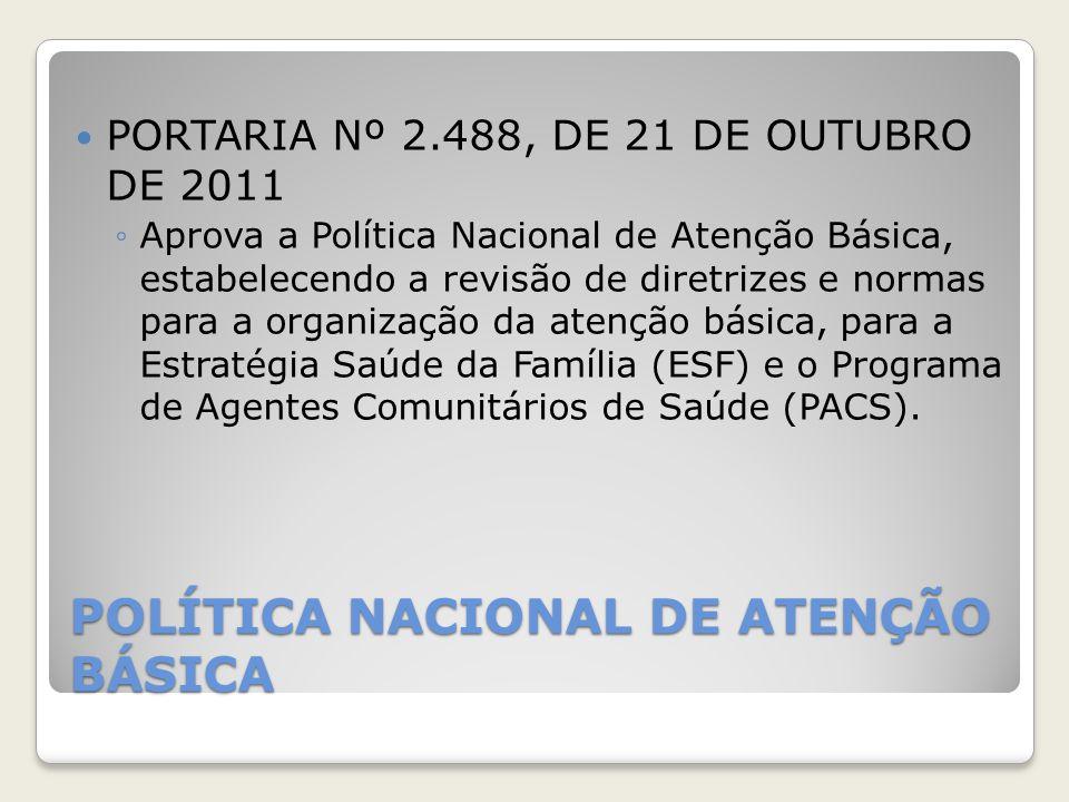 POLÍTICA NACIONAL DE ATENÇÃO BÁSICA PORTARIA Nº 2.488, DE 21 DE OUTUBRO DE 2011 ◦Aprova a Política Nacional de Atenção Básica, estabelecendo a revisão
