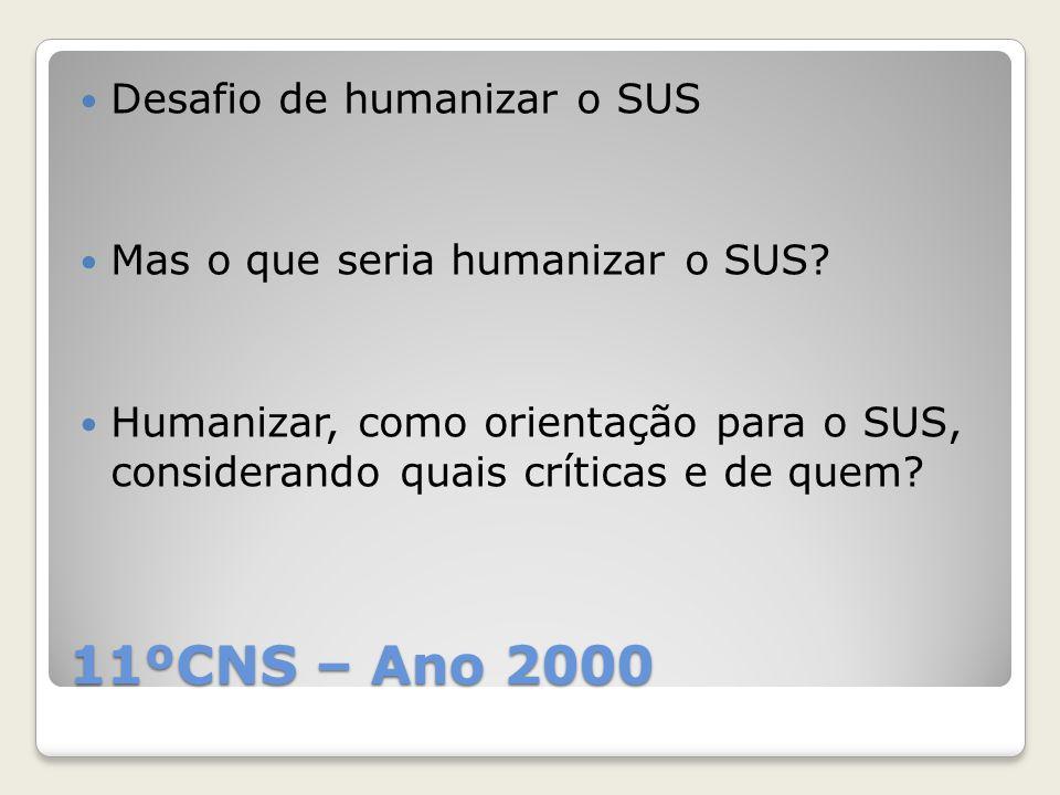 11ºCNS – Ano 2000 Desafio de humanizar o SUS Mas o que seria humanizar o SUS? Humanizar, como orientação para o SUS, considerando quais críticas e de