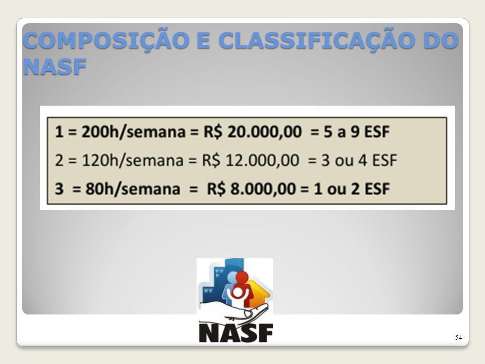 COMPOSIÇÃO E CLASSIFICAÇÃO DO NASF 54