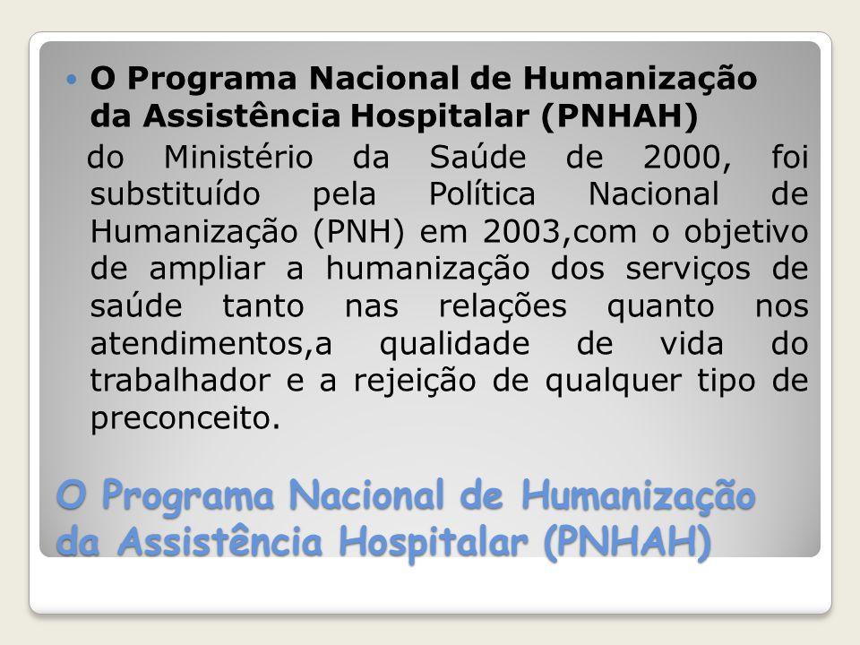 O Programa Nacional de Humanização da Assistência Hospitalar (PNHAH) do Ministério da Saúde de 2000, foi substituído pela Política Nacional de Humaniz