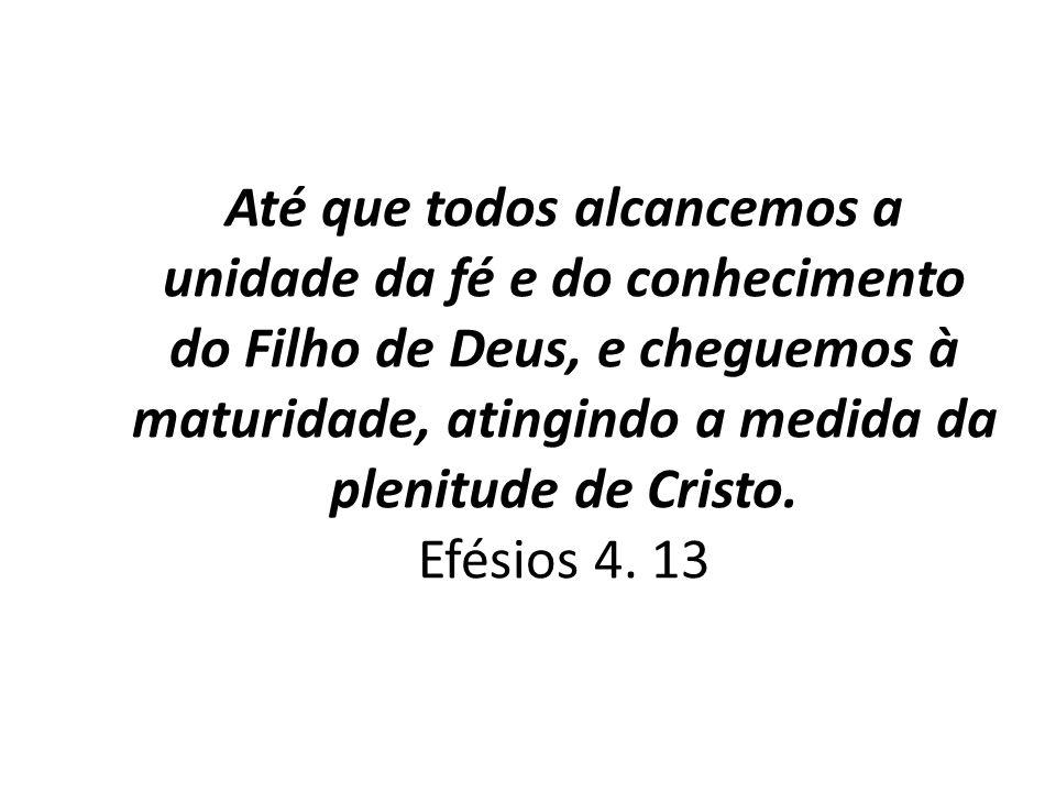 Até que todos alcancemos a unidade da fé e do conhecimento do Filho de Deus, e cheguemos à maturidade, atingindo a medida da plenitude de Cristo. Efés