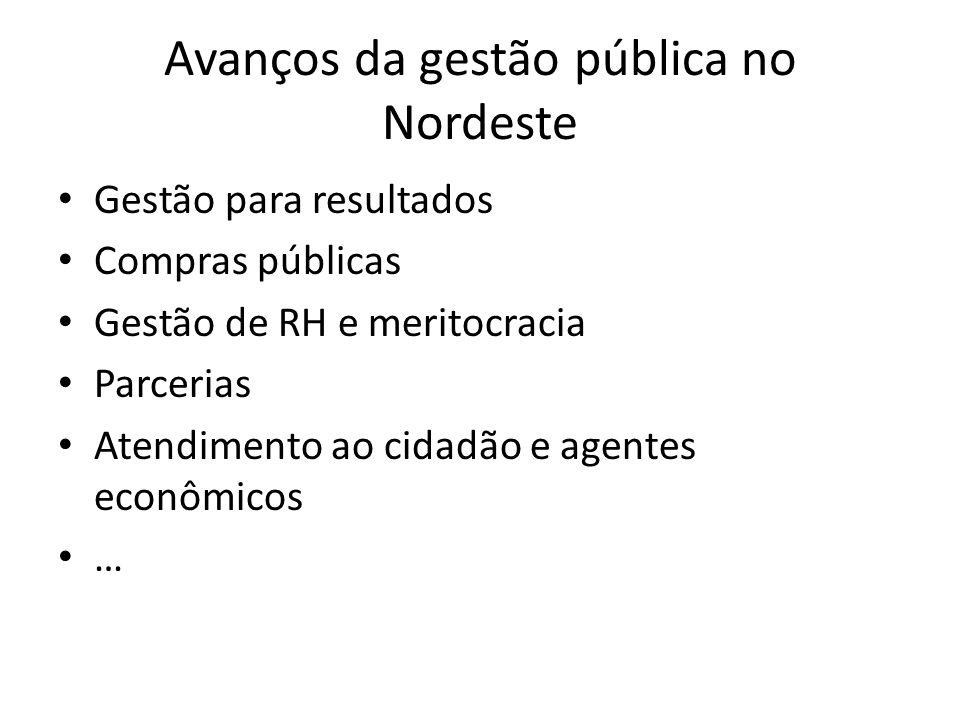 Avanços da gestão pública no Nordeste Gestão para resultados Compras públicas Gestão de RH e meritocracia Parcerias Atendimento ao cidadão e agentes econômicos …