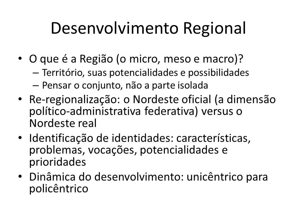 Desenvolvimento Regional O que é a Região (o micro, meso e macro).