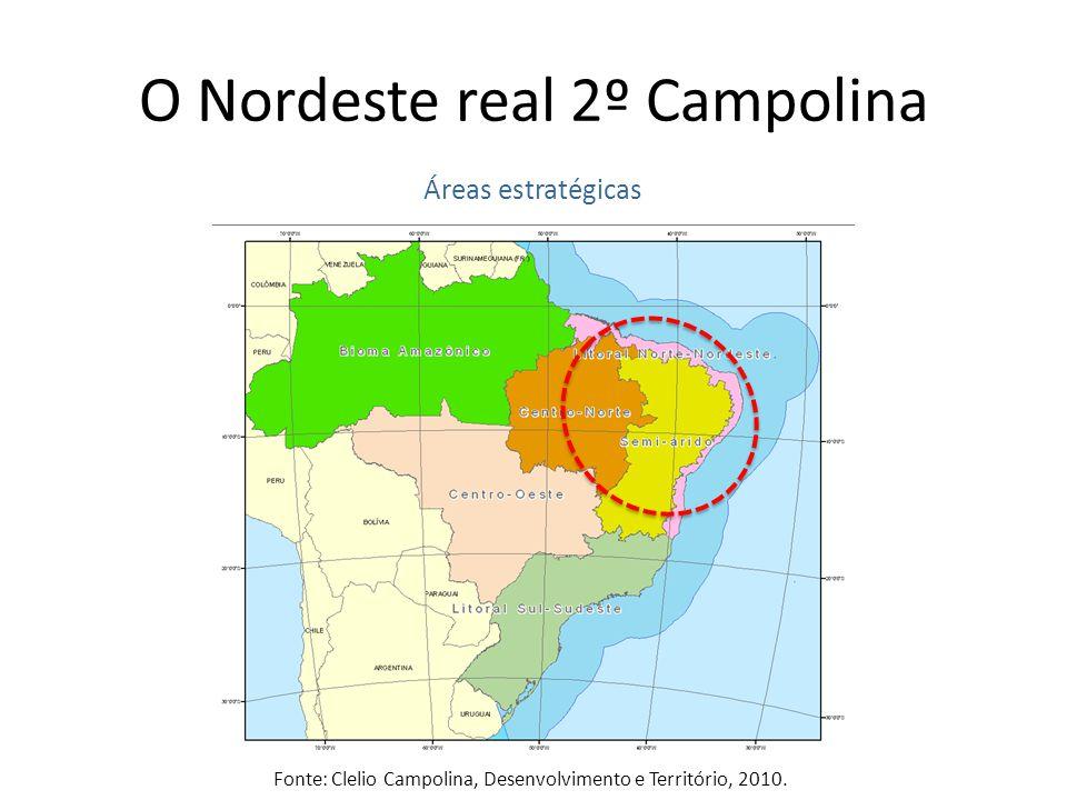 O Nordeste real 2º Campolina Áreas estratégicas Fonte: Clelio Campolina, Desenvolvimento e Território, 2010.