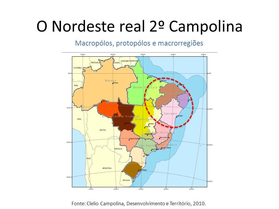 O Nordeste real 2º Campolina Macropólos, protopólos e macrorregiões Fonte: Clelio Campolina, Desenvolvimento e Território, 2010.