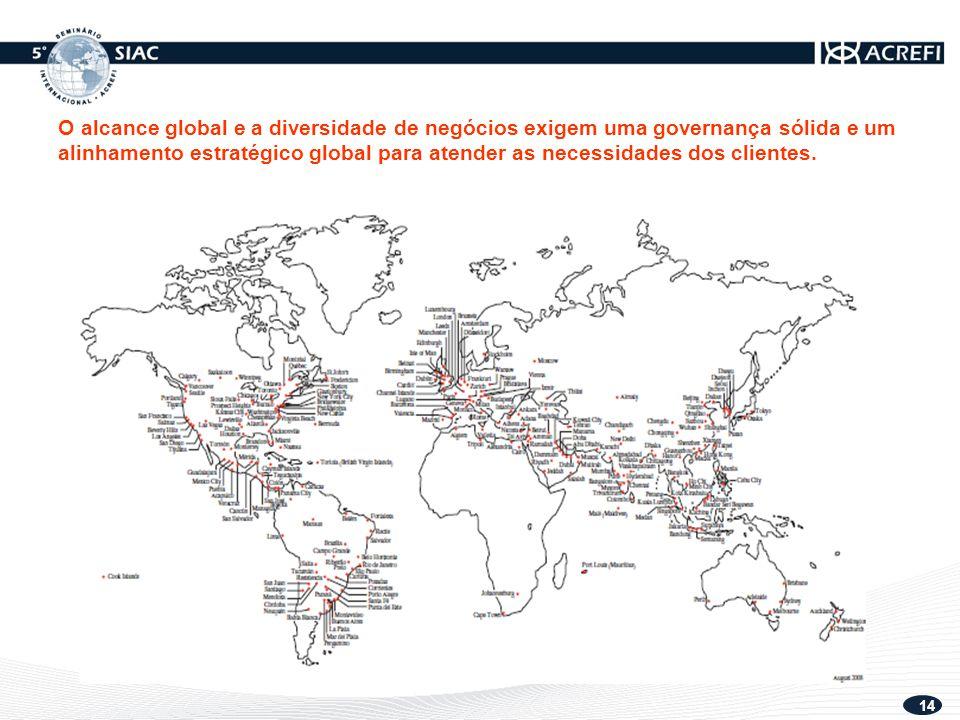14 O alcance global e a diversidade de negócios exigem uma governança sólida e um alinhamento estratégico global para atender as necessidades dos clientes.