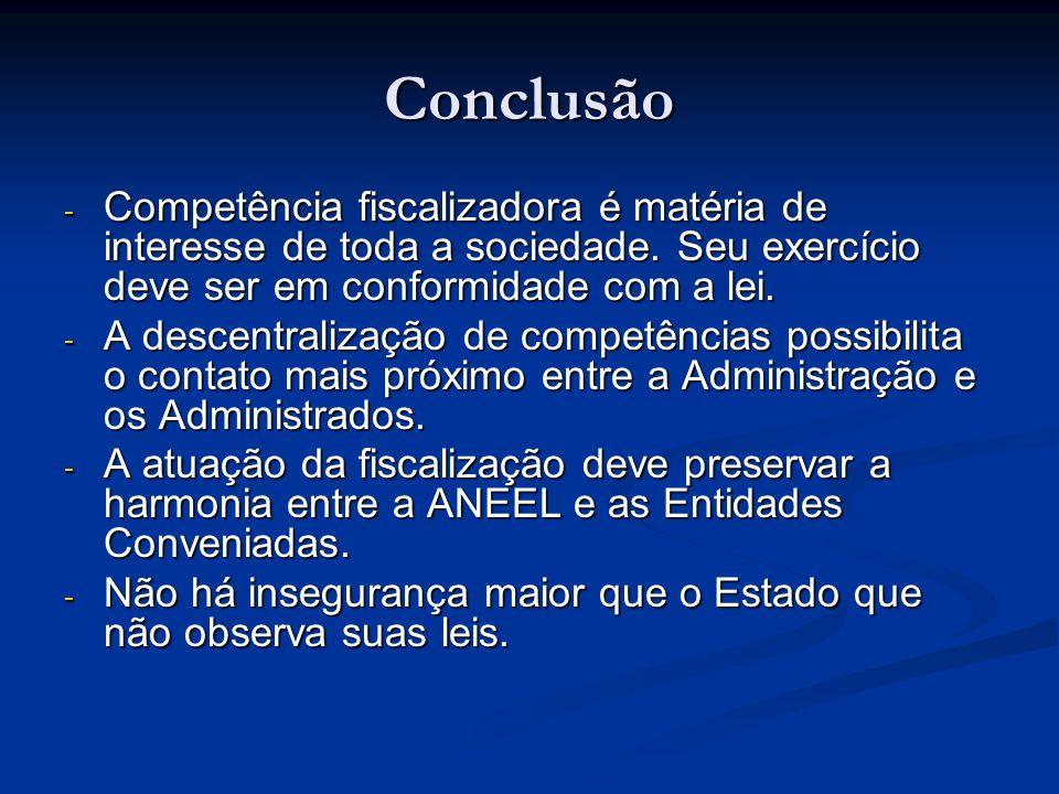 Conclusão - Competência fiscalizadora é matéria de interesse de toda a sociedade. Seu exercício deve ser em conformidade com a lei. - A descentralizaç