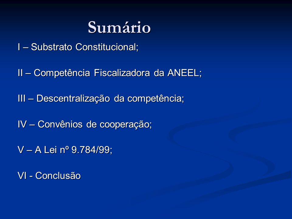 Sumário I – Substrato Constitucional; II – Competência Fiscalizadora da ANEEL; III – Descentralização da competência; IV – Convênios de cooperação; V