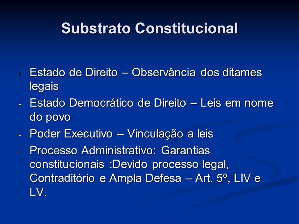 Substrato Constitucional - Estado de Direito – Observância dos ditames legais - Estado Democrático de Direito – Leis em nome do povo - Poder Executivo