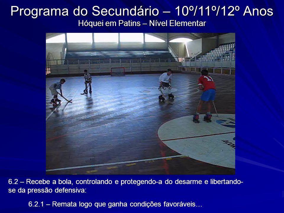 6.2 – Recebe a bola, controlando e protegendo-a do desarme e libertando- se da pressão defensiva: 6.2.1 – Remata logo que ganha condições favoráveis…