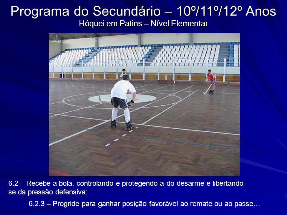 6.2 – Recebe a bola, controlando e protegendo-a do desarme e libertando- se da pressão defensiva: 6.2.3 – Progride para ganhar posição favorável ao re