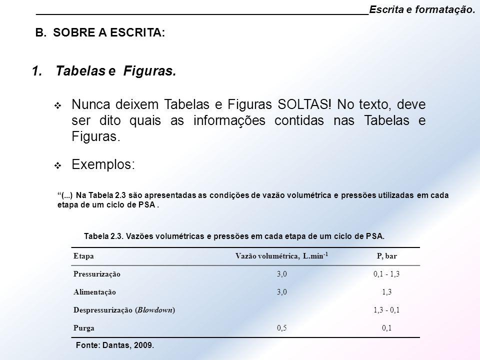 1.Tabelas e Figuras. ________________________________________________________Escrita e formatação.  Nunca deixem Tabelas e Figuras SOLTAS! No texto,