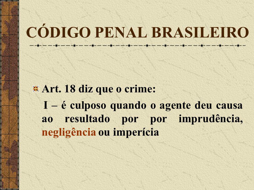 CÓDIGO PENAL BRASILEIRO Art. 18 diz que o crime: I – é culposo quando o agente deu causa ao resultado por por imprudência, negligência ou imperícia