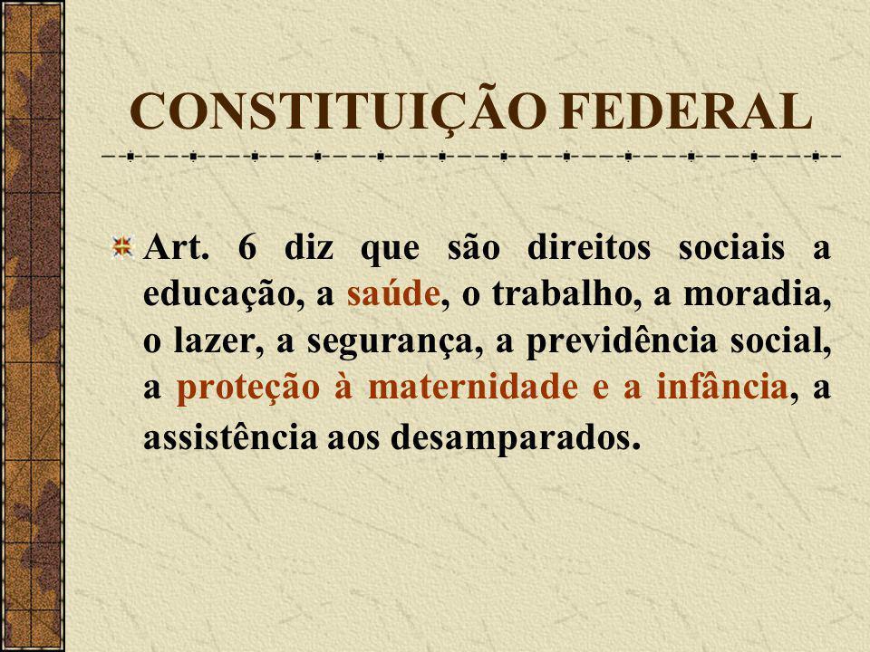 CONSTITUIÇÃO FEDERAL Art. 6 diz que são direitos sociais a educação, a saúde, o trabalho, a moradia, o lazer, a segurança, a previdência social, a pro