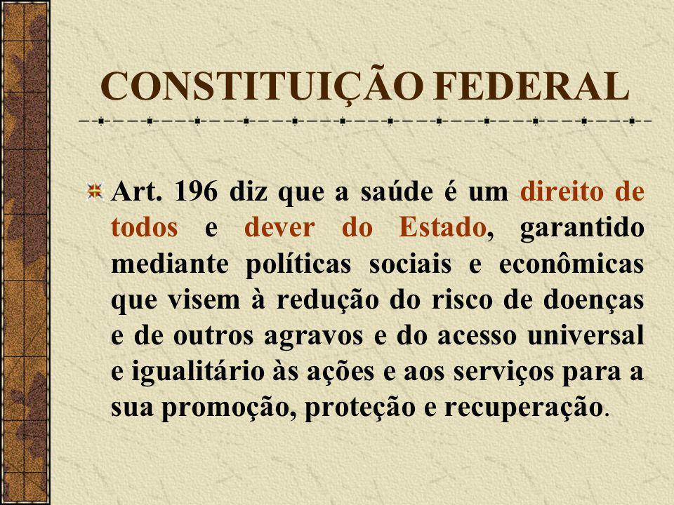 CONSTITUIÇÃO FEDERAL Art. 196 diz que a saúde é um direito de todos e dever do Estado, garantido mediante políticas sociais e econômicas que visem à r