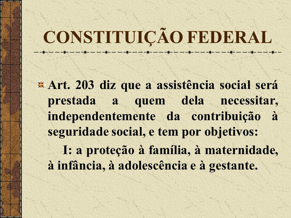 CONSTITUIÇÃO FEDERAL Art. 203 diz que a assistência social será prestada a quem dela necessitar, independentemente da contribuição à seguridade social