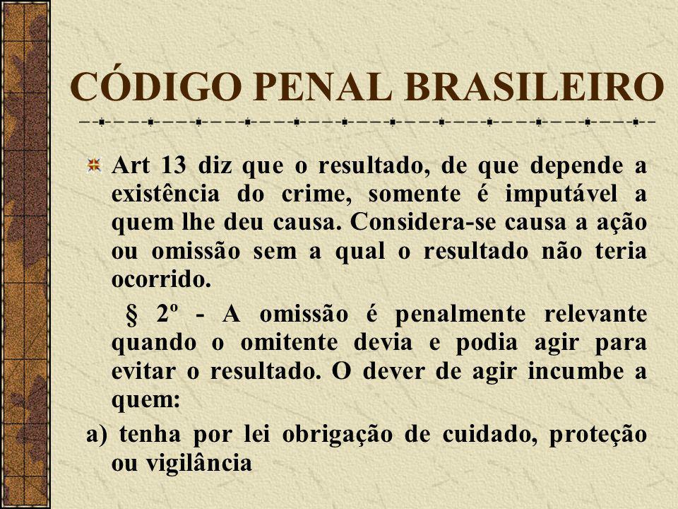 CÓDIGO PENAL BRASILEIRO Art 13 diz que o resultado, de que depende a existência do crime, somente é imputável a quem lhe deu causa. Considera-se causa