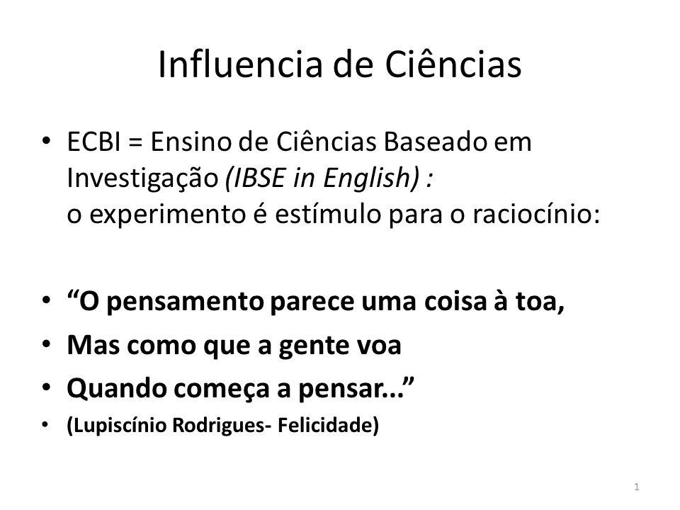 """Influencia de Ciências ECBI = Ensino de Ciências Baseado em Investigação (IBSE in English) : o experimento é estímulo para o raciocínio: """"O pensamento"""