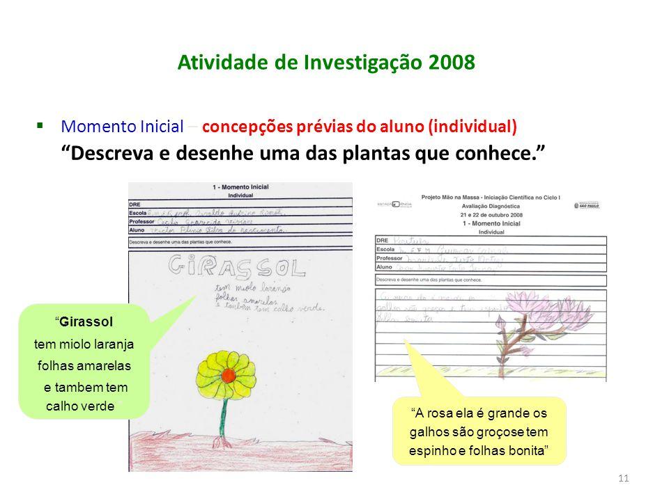 """Atividade de Investigação 2008  Momento Inicial – concepções prévias do aluno (individual) """"Descreva e desenhe uma das plantas que conhece."""" """"Girasso"""