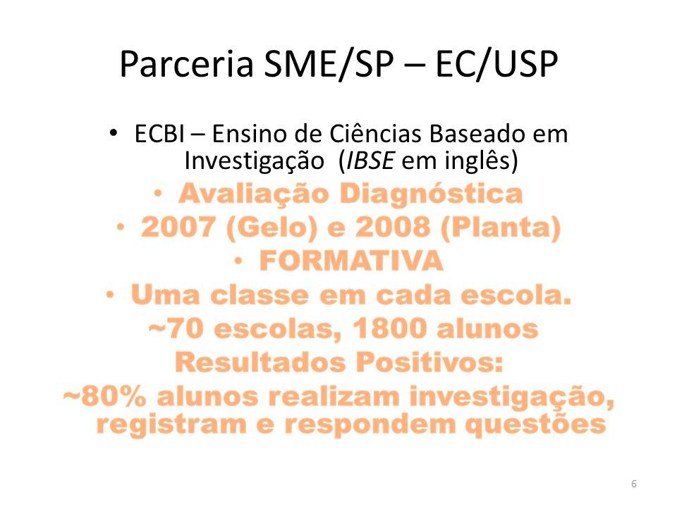 Avaliação Diagnóstica 2007 e 2008 Avaliação formativa do método, não do aluno Exigência SME Resistência de Professores, CPs e fDEs Parceria SME-EC Desafio aos alunos fez sucesso.