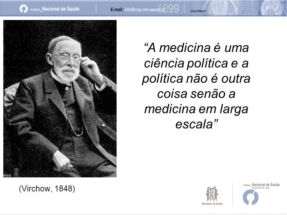 A medicina é uma ciência política e a política não é outra coisa senão a medicina em larga escala (Virchow, 1848)