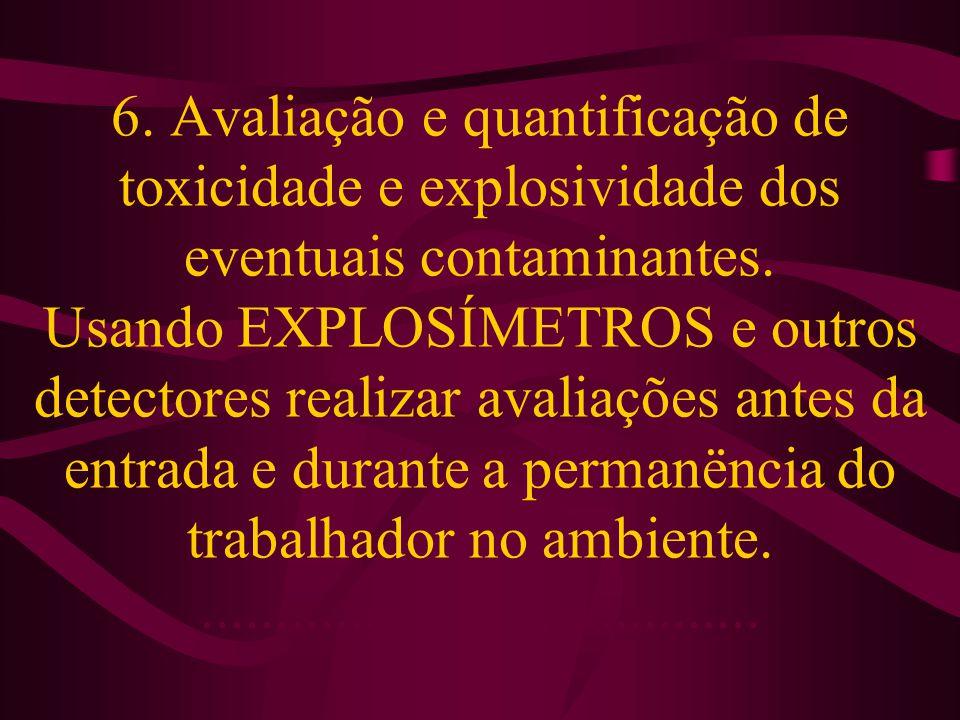 6. Avaliação e quantificação de toxicidade e explosividade dos eventuais contaminantes. Usando EXPLOSÍMETROS e outros detectores realizar avaliações a