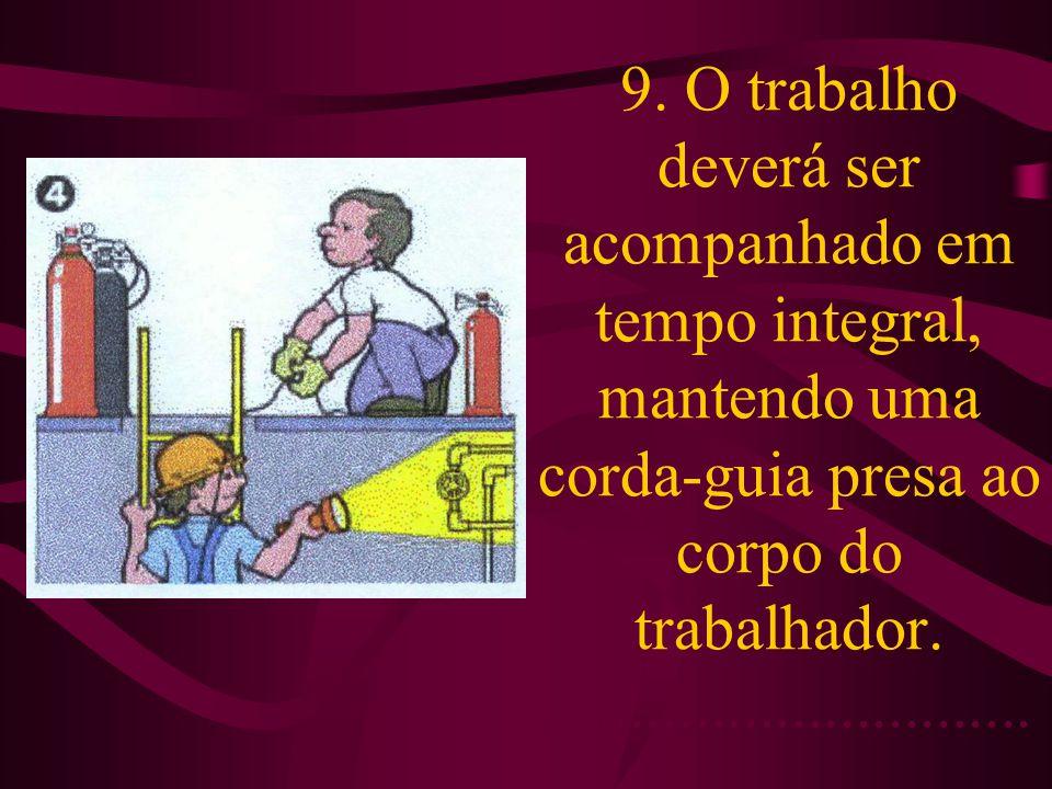 9. O trabalho deverá ser acompanhado em tempo integral, mantendo uma corda-guia presa ao corpo do trabalhador...............................