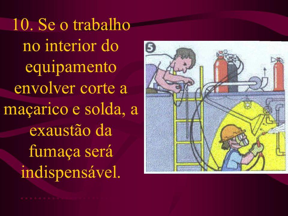 10. Se o trabalho no interior do equipamento envolver corte a maçarico e solda, a exaustão da fumaça será indispensável........................