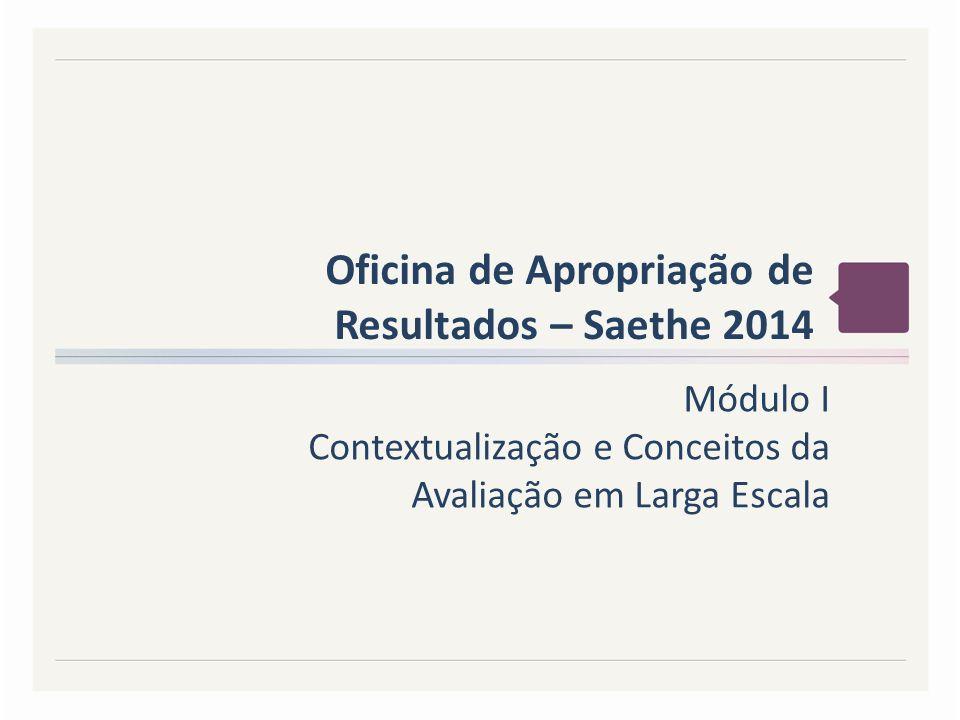 Oficina de Apropriação de Resultados – Saethe 2014 Módulo I Contextualização e Conceitos da Avaliação em Larga Escala