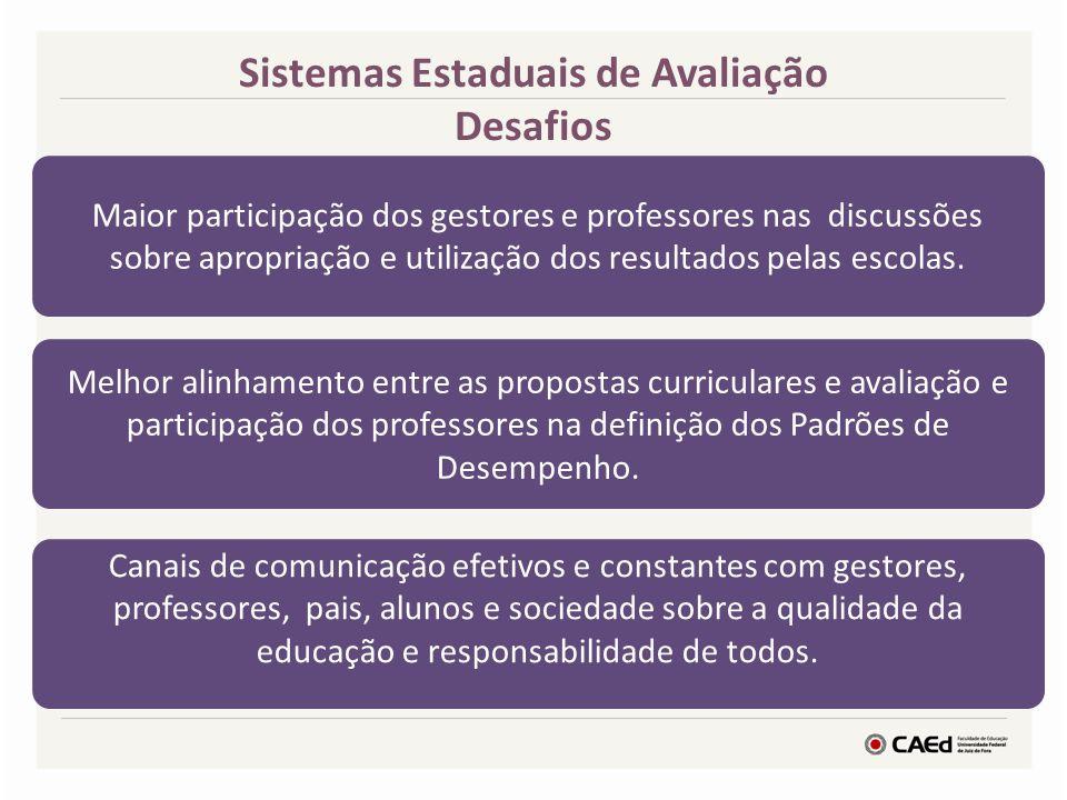 Sistemas Estaduais de Avaliação Desafios Maior participação dos gestores e professores nas discussões sobre apropriação e utilização dos resultados pe