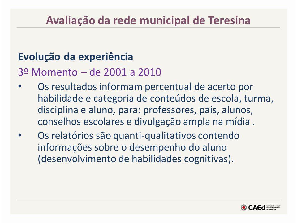 Evolução da experiência 3º Momento – de 2001 a 2010 Os resultados informam percentual de acerto por habilidade e categoria de conteúdos de escola, tur