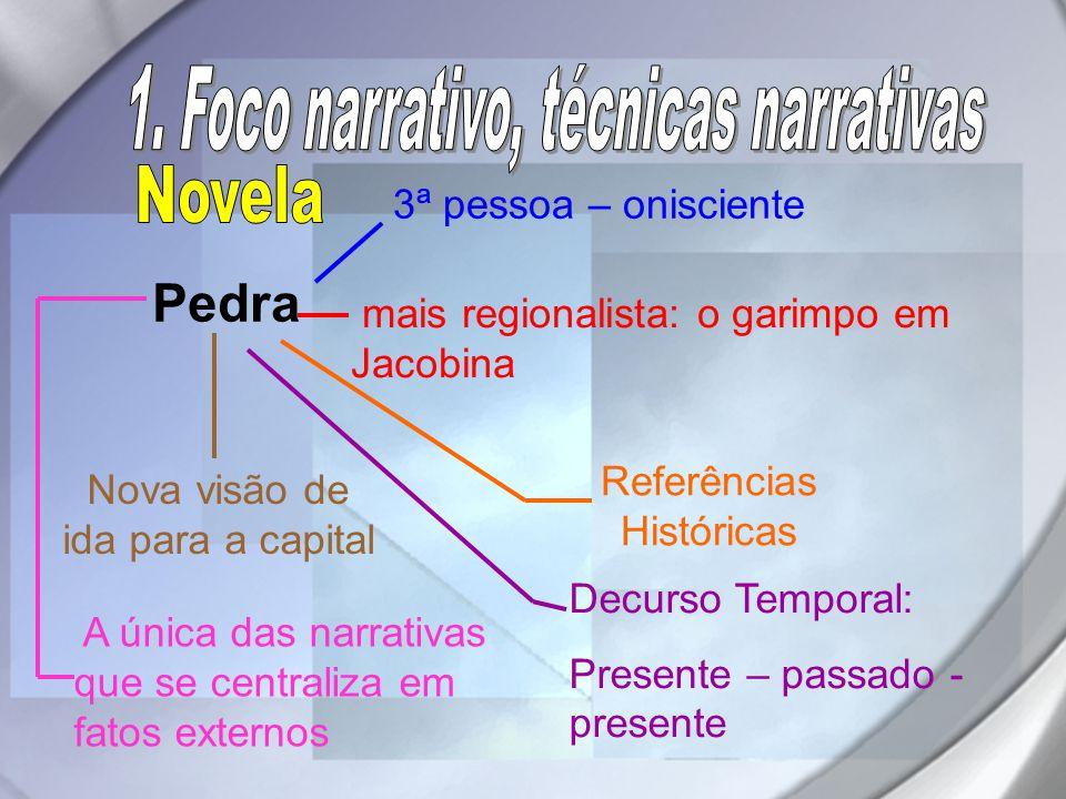 Pedra 3ª pessoa – onisciente mais regionalista: o garimpo em Jacobina Nova visão de ida para a capital A única das narrativas que se centraliza em fat