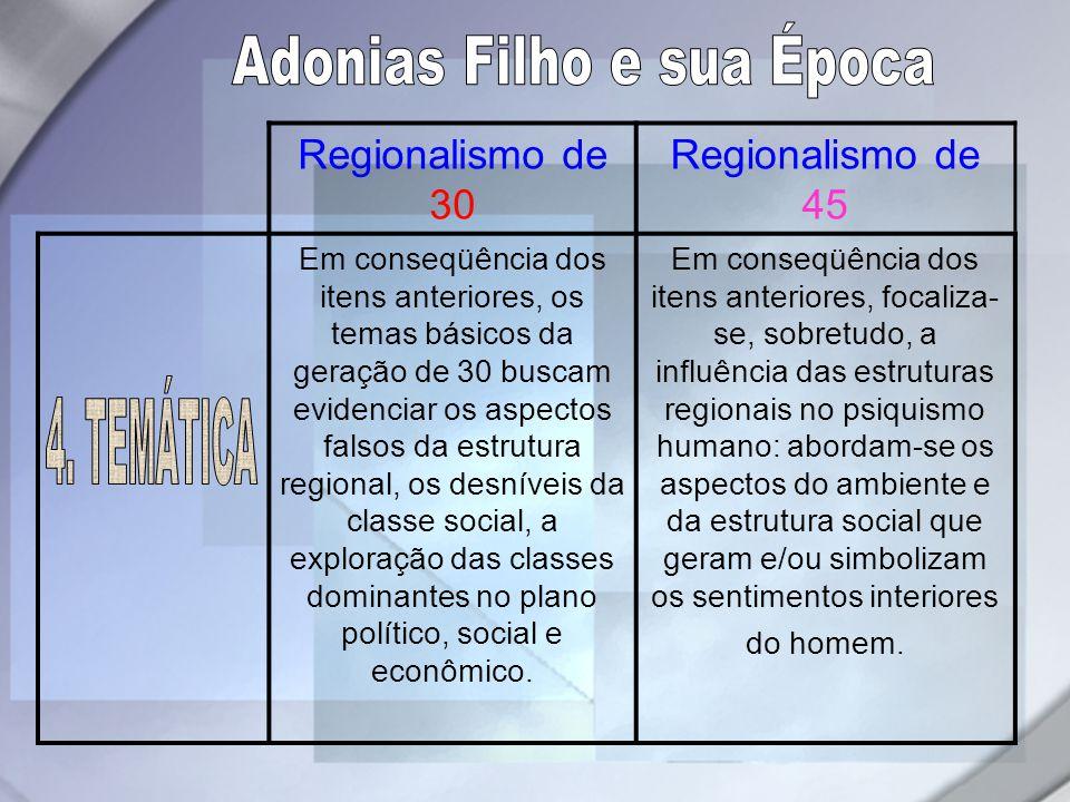 Regionalismo de 30 Regionalismo de 45 Em conseqüência dos itens anteriores, os temas básicos da geração de 30 buscam evidenciar os aspectos falsos da