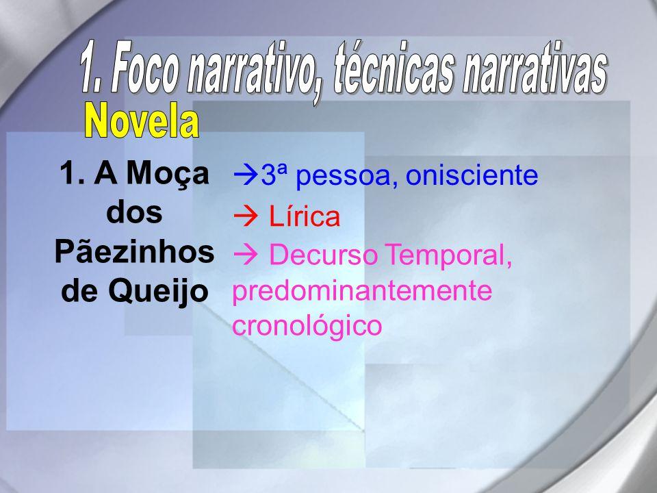 1. A Moça dos Pãezinhos de Queijo  3ª pessoa, onisciente  Lírica  Decurso Temporal, predominantemente cronológico
