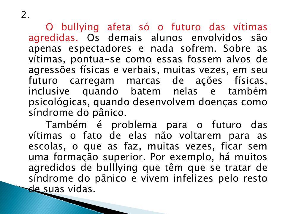2.O bullying afeta só o futuro das vítimas agredidas.
