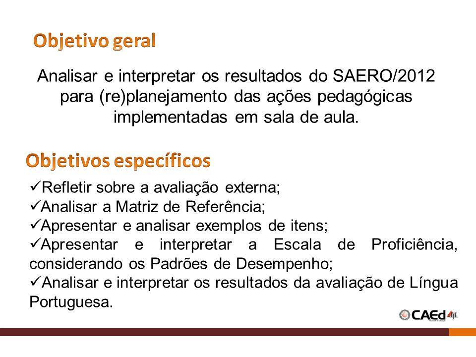 Analisar e interpretar os resultados do SAERO/2012 para (re)planejamento das ações pedagógicas implementadas em sala de aula. Refletir sobre a avaliaç