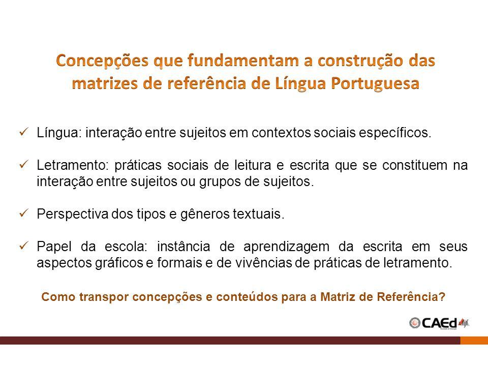 Língua: interação entre sujeitos em contextos sociais específicos. Letramento: práticas sociais de leitura e escrita que se constituem na interação en