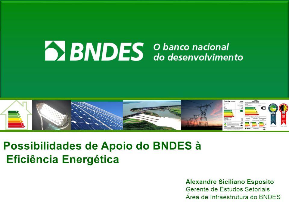 Possibilidades de Apoio do BNDES à Eficiência Energética Alexandre Siciliano Esposito Gerente de Estudos Setoriais Área de Infraestrutura do BNDES