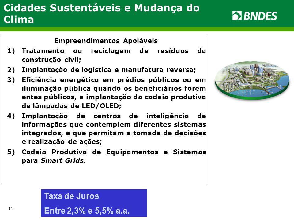 Cidades Sustentáveis e Mudança do Clima Empreendimentos Apoiáveis 1)Tratamento ou reciclagem de resíduos da construção civil; 2)Implantação de logísti