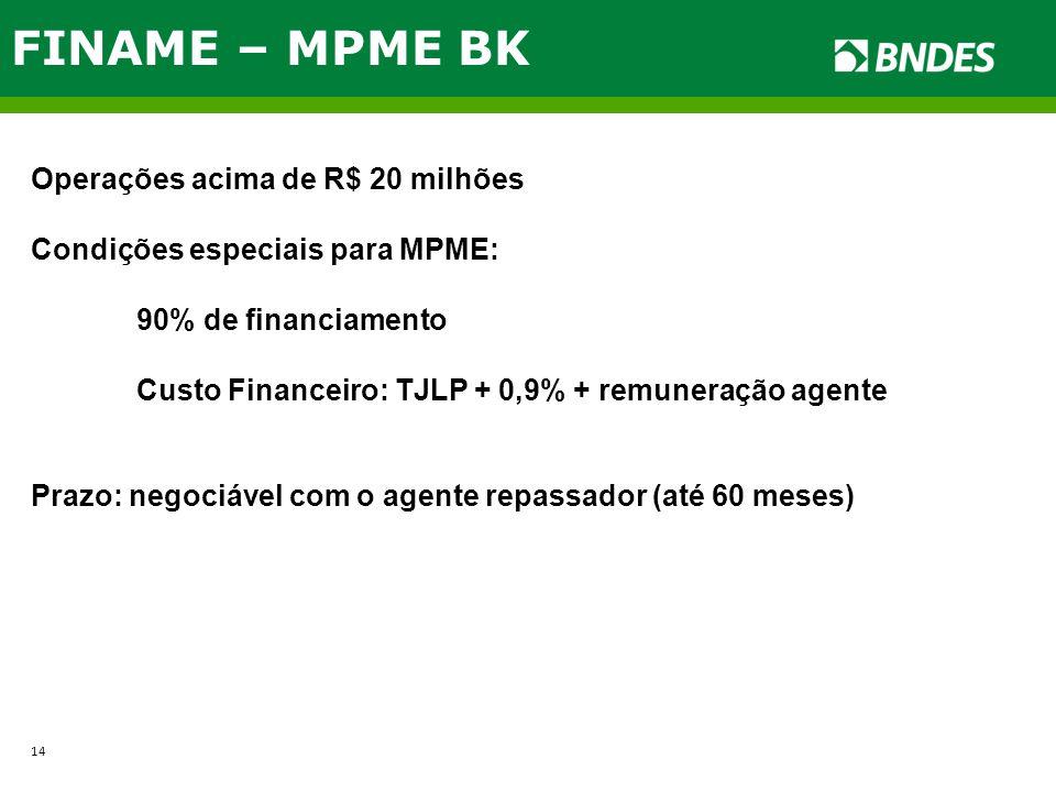 FINAME – MPME BK Operações acima de R$ 20 milhões Condições especiais para MPME: 90% de financiamento Custo Financeiro: TJLP + 0,9% + remuneração agen