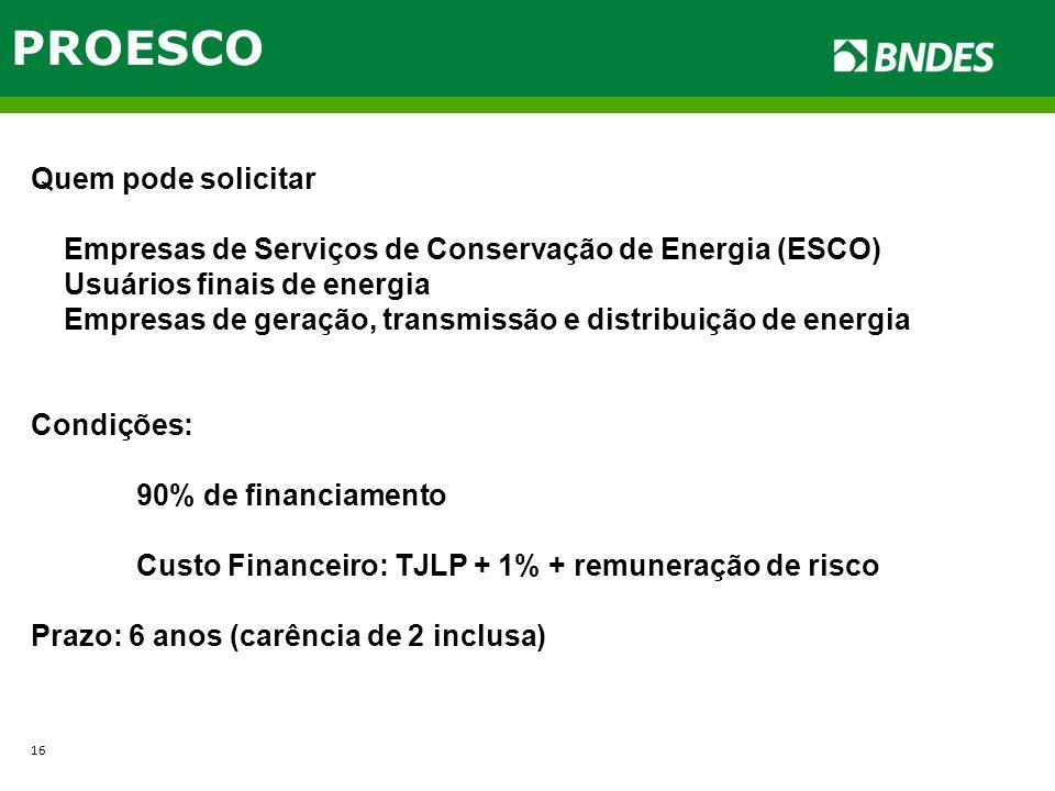 PROESCO Quem pode solicitar Empresas de Serviços de Conservação de Energia (ESCO) Usuários finais de energia Empresas de geração, transmissão e distri