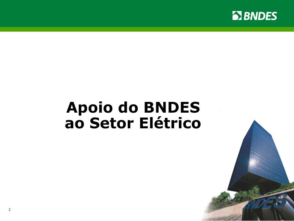 Operações do Setor Elétrico com Crédito Aprovado 2003 a 2014 (1º Semestre) R$ mil Segmento Capacidade InstaladaProjetos Financiamento do BNDES Investimento Associado 1.