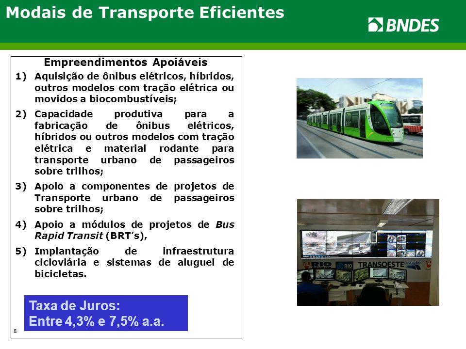Modais de Transporte Eficientes Empreendimentos Apoiáveis 1)Aquisição de ônibus elétricos, híbridos, outros modelos com tração elétrica ou movidos a b