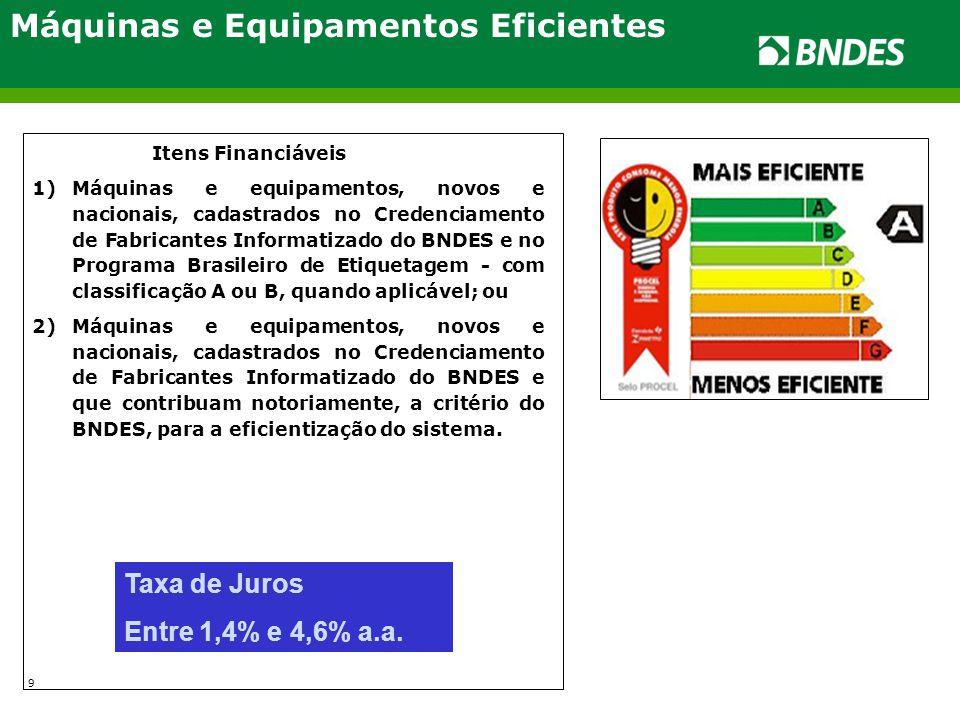 Máquinas e Equipamentos Eficientes Itens Financiáveis 1)Máquinas e equipamentos, novos e nacionais, cadastrados no Credenciamento de Fabricantes Infor